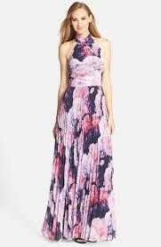eliza j dresses fashion trends halter neck floor length pleated floral print