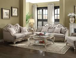 fabric living room sets acme acme chelmsford 2 piece fabric living room set in beige