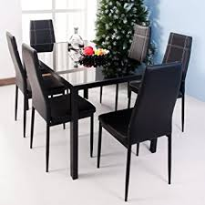 Dining Room Table 6 Chairs Amazon Com Merax 7 Piece Dining Set Glass Top Metal Table 6