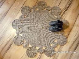 Jute Braided Rugs Crochet Bohemian Rug Flower Rug Natural Jute Rug Handmade 40