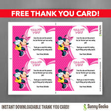minnie mouse thank you cards mouse 7x5 in birthday party invitation with free editable thank