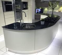 kitchen island worktops uk gloss ivory kitchen island with large curved units and black glass