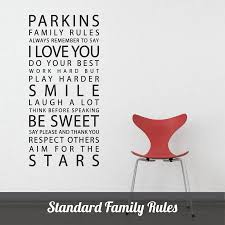 personalised family rules wall sticker by parkins interiors shown in black