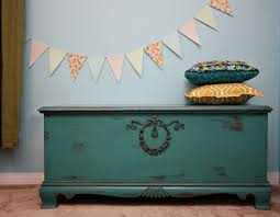 love this hope chest she added the wreath u0026 ribbon appliques to a