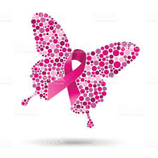 breast cancer butterfly illustration for support stock vector