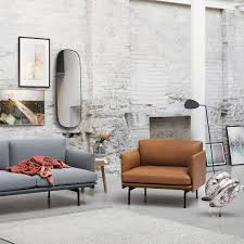 light grey leather sofa outline armchair leather by muuto connox