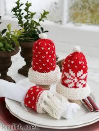 новогодняя сервировка спицами вязаные игрушки и куклы