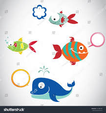 cartoon funny fish illustration speech bubbles stock vector