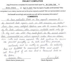 Quality First Basement by Jagg Enterprizes Basement Leak Specialists Testimonials