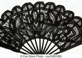 black lace fan black lace fan black lace fan on white background stock