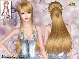 butterfly for hair braided crown with bangs hair 61 by butterfly sims 3 hairs