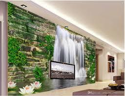 Stone Wall Mural Fashion 3d Home Decor Beautiful Stone Wall Waterfall 3d Tv Wall 3d