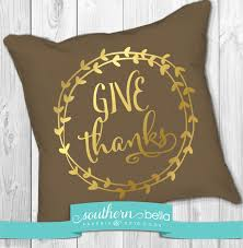 fall give thanks wreath gold foil pillow thanksgiving decor
