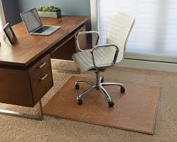 awesome rectangle brown wooden computer chair mat blue wall paint