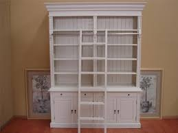 classic tall white mahogany wood bookcase with ladder of