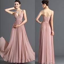 chiffon dress women pink plain pleated v neck spaghetti straps prom chiffon