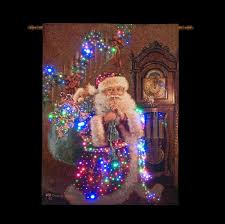 santa with sack and gifts lit wall tapestry battery operated