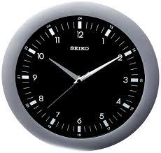amazon com seiko wall clock silver tone metallic case watches