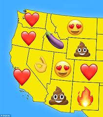 map reveals each state u0027s favorite emoji daily mail online