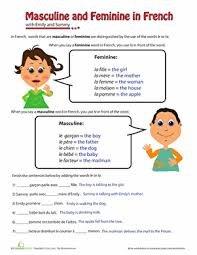 masculine and feminine in french worksheet education com
