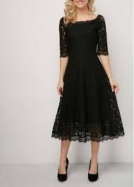 black lace dress high waist half sleeve eyelash lace dress rosewe usd 36 63