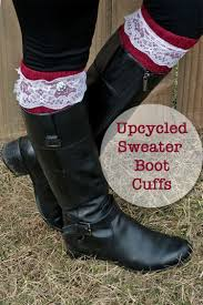 diy upcycled boot cuffs from an old sweater boot socks