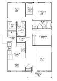 One Floor Tiny House Floor Plan For A Small House 1 150 Sf With 3 Bedrooms And 2 Baths