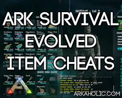 ark survival evolved cheats for items list of all items 2017