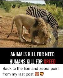 Humans Meme - animals kill for need humans kill for greed back to the lion and