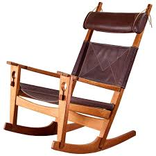 Wingback Rocking Chair Hans Wegner Keyhole Rocking Chair In Original Leather Denmark