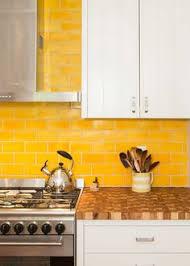 Colorful Tile Backsplash by Yellow Glass Subway Tile Subway Tiles Stools And Kitchen Backsplash