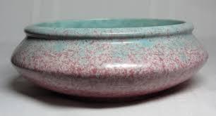 roseville pottery tourmaline mottled pink green bowl planter