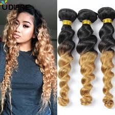 Black To Brown Ombre Hair Extensions by Brazilian Virgin Hair Loose Wave Ombre Hair Extensions 3pcs Blonde