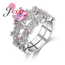pink crystal rings images Jexxi hot selling 2pcs beautiful wedding 925 sterling silver women jpg