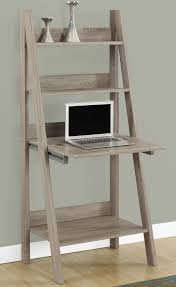 features ladder style shelves closed storage drops down to