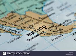 Mexico On Map Close Up Of The Country Of Word Mexico On A Wold Map Stock Photo