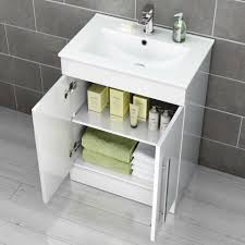 Mm Avon Gloss White Floor Standing Basin Cabinet Soakcom - Bathroom basin and cabinet 2
