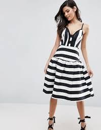 asos asos curved stripe trumpet hem midi prom dress