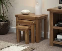 rustic solid oak nest of tables oak furniture uk