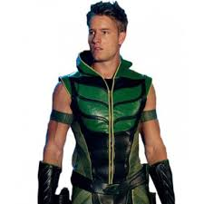 league green arrow hoodie leather vest