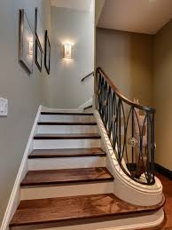 Sconces Decor Designs Ideas Classic Wood Staircase With Metal Stair Railing