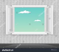 open glass window frame cartoon interior stock vector 705821827