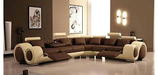 Modern Reclining Sectional Sofas Vgev4087 Two Tone Brown Beige Leather Reclining Sectional Modern