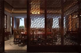 architecture wood windows chinese restaurant design rendering