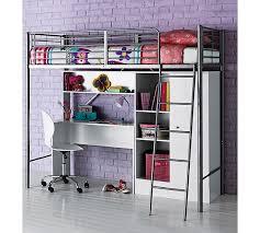 White High Sleeper Bed Frame Buy Metal High Sleeper Bed Frame With Wardrobe And Desk White At