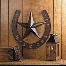 rustic welcome star horseshoe country cowboy horse metal wall art