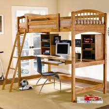 walnut loft bed with compact wooden book case and writing desk