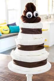 lol how cute is this poo emoji diaper cake for an emoji themed