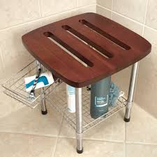 bathroom appealing wooden teak shower bench plus shelf for