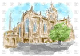 edinburgh stylized church as watercolor paint vector clipart image